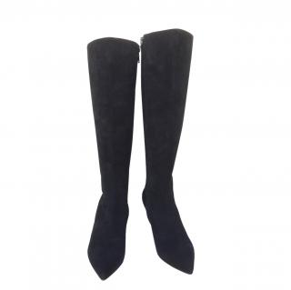 Christian Louboutin Black Suede Knee Boots