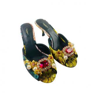 Dolce & Gabbana Crystal Embellished Brocade Mules