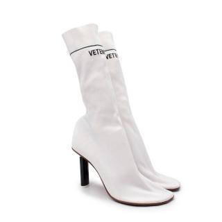 Vetements White Lighter Heel Stretch Sock Boots
