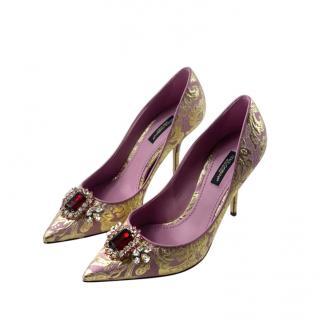 Dolce & Gabbana Crystal Embellished Floral Brocade Pumps