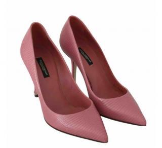 Dolce & Gabbana Lizard Embossed Pink Pumps
