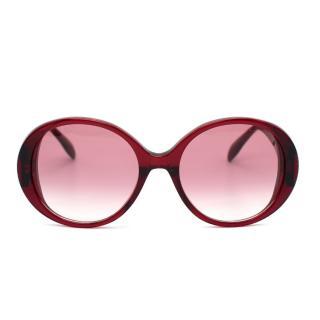 Alexander McQueen Red Seal Logo Round Sunglasses