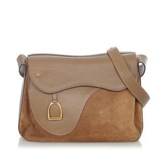 Gucci Vintage Suede & Leather Saddle Shoulder Bag