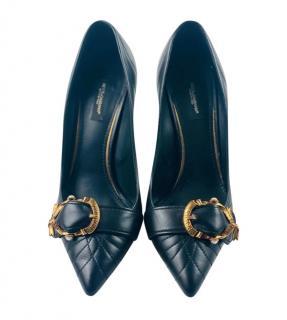 Dolce & Gabbana Black Nappa Leather Devotion Pumps
