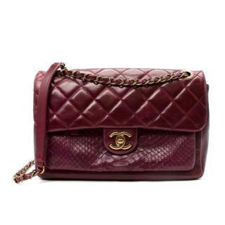 Chanel Medium Burgundy Python & Quilted Leather Shoulder Bag