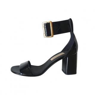 Burberry Black Patent Ankle Strap Sandals