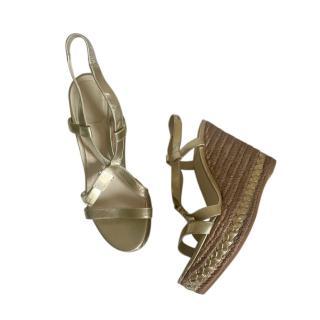 Dior Gold Leather Espadrille Platforms