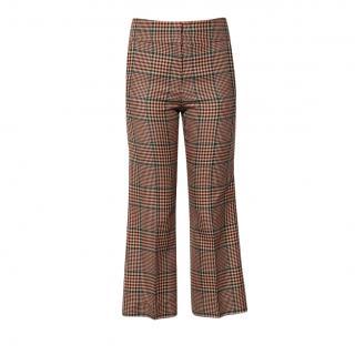 Veronica Beard Check Wool Crop Pants