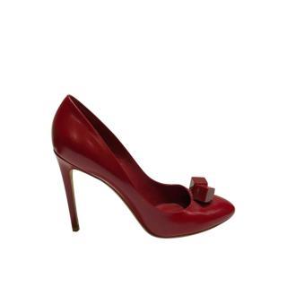 Louis Vuitton Red Damier Dice Peep-Toe Pumps