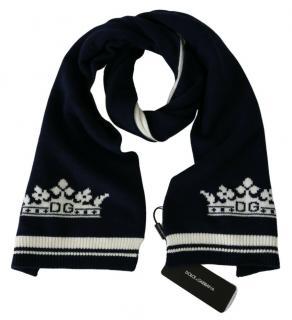 Dolce & Gabbana Navy/White Cashmere Crown Scarf