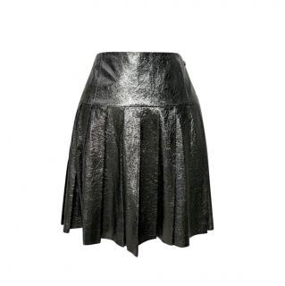 Chanel Globalisation Black Glossy Calfskin Pleated Skirt