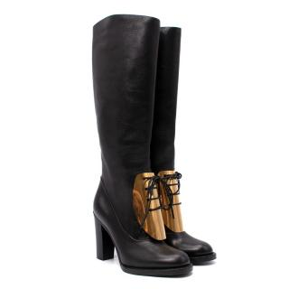 Celine by Phoebe Philo Gold-Tone Metal Plate Lace-Up Block Heel Boots