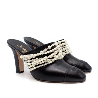 Chanel Pearl Strands Black Leather CC Logo Toe-Cap Heeled Mules