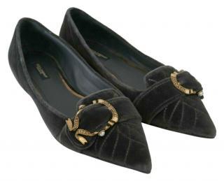 Dolce & Gabbana Grey Velvet Devotion Ballerina Flats
