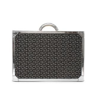 Balmain Monogram Jacquard Metallic Croc-Effect Leather Trim Suitcase