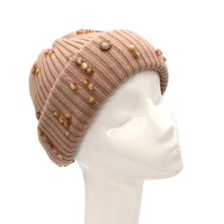 Burberry Beige Ribbed Wool Tortoiseshell Button Embellished Hat