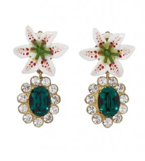 Dolce & Gabbana Green Crystal Lily Drop Earrings