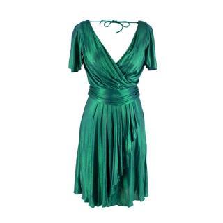 Temperley Metallic Emerald Liquid Ruffled Mini Dress