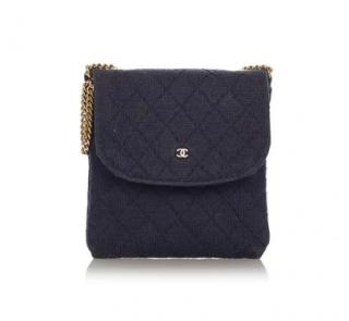 Chanel Navy Blue Quilted Nylon Shoulder Bag