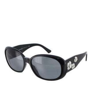 Chanel Black Camellia Flower Sunglasses