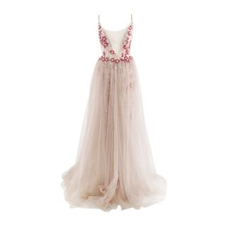 Berta Nude Tulle Plunge Neck Pink & Red Beaded Evening Gown