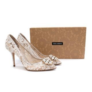 Dolce & Gabbana White Belluci Taormina Lace Embellished Pumps