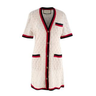 Gucci Cream GG Monogram lace Button-Up Short Dress