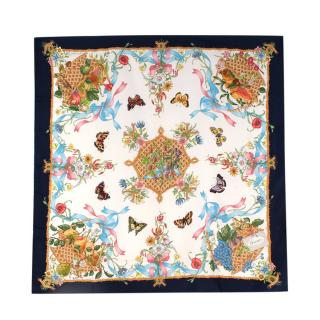 Gucci Vintage 87cm V.Accornero Butterfly Floral Silk Square Scarf