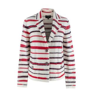 Chanel Textured Metallic Red & Navy Stripe Knitted Cashmere Jacket
