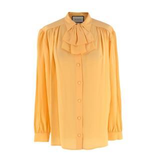 Gucci Yellow Silk-Crepe Detachable Ruffle Blouse
