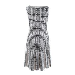 Alaia Black & White Intarsia Knit Skater Dress