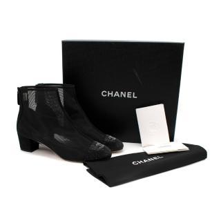 Chanel Black Mesh Rhinestone Toe-Cap CC Low Heeled Ankle Boot