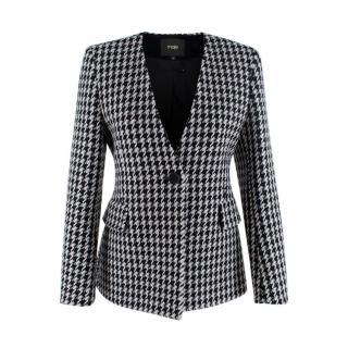 Maje Varlone Wool Black & White Houndstooth Check Jacket