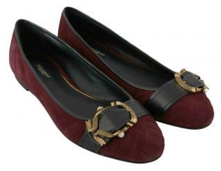 Dolce & Gabbana Burgundy Suede Devotion Ballerinas