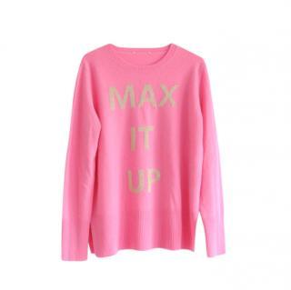 Max & Co. Pink Cashmere & Wool Logo Intarsia Jumper