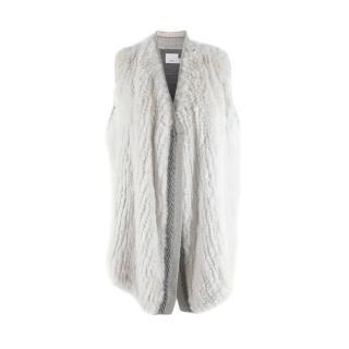 Vince Light Grey Rabbit Fur Knitted Gilet