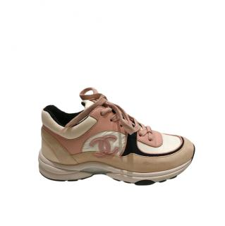 Chanel Pink/Beige Suede/Leather CC Sneakers