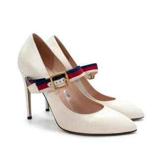 Gucci Sylvie Ivory Leather Mary Jane Web Strap Pumps
