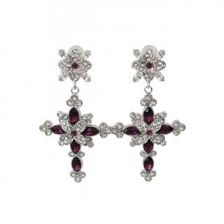 Dolce & Gabbana Floral Cross Crystal Clip-On Earrings