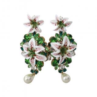 Dolce & Gabbana Lily Crystal Faux Pearl Drop Earrings
