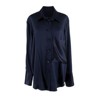 Michael Lo Sordo Fluid Deep Navy Silk Satin Oversized Shirt