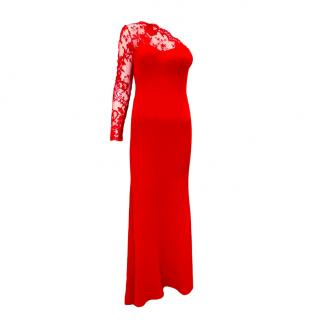 Alexander McQueen Red Lace One Shoulder Gown