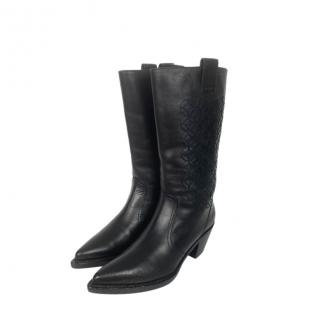 Chanel Black Leather Embroidered Cowboy Boots