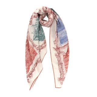 Hermes Les Cabanes 140 Ivory & Multicolour Cashmere & Silk Shawl