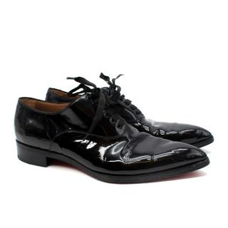 Christian Louboutin Black Patent Leather Point Toe Derby Shoes