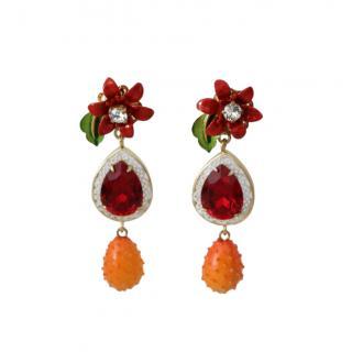 Dolce & Gabbana Tropical Flower Drop Earrings
