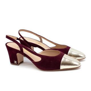 Chanel Burgundy Suede Metallic Toe-Cap Heeled Slingback
