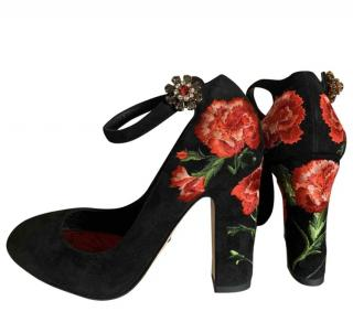 Dolce & Gabbana Black Floral Embroidered Mary-janes
