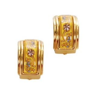 Hermes Yellow Cloisonne Clip On Earrings