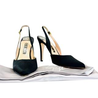 Gina Black Satin Slingback Sandals